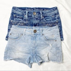 Justice Bundle of 2 denim shorts